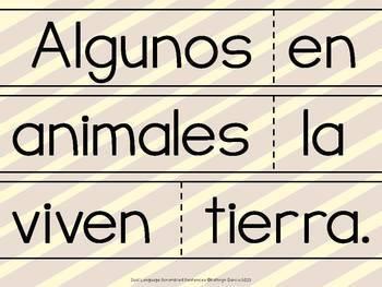 Spanish Scrambled Sentences ANIMALES Animals