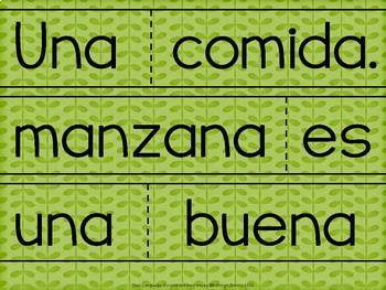 Spanish Scrambled Sentences for Dual Language/Bilingual:  MANZANAS (Apples)