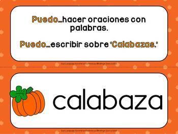 Spanish Scrambled Sentences for Dual Language/Bilingual:  CALABAZAS (Pumpkins)