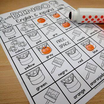 dual language english language learners spanish english color words bingo