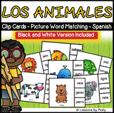 Spanish and English Language Learners Picture Word Matching Cards - Los Animales