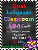 Dual Language Labels for Classroom (Equipment, Furniture, and Everyday Objects)