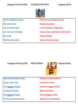 Dual Language Language of the Day Posters
