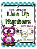 Dual Language Line Up Numbers with Owls for Floor in English & Spanish