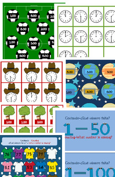 Dual Language Math Folder Games - K-1st Grade