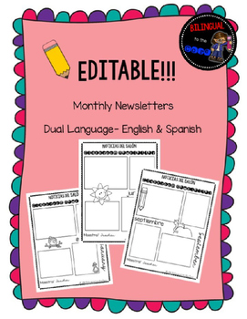 Dual Language Monthly Newsletters Black and White: Editable