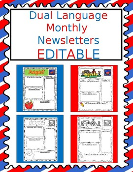 Dual Language EDITABLE Monthly Newsletters
