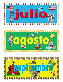 Dual Language Months of the Year Banners for Calendar