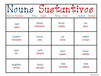 Dual Language Noun Bingo