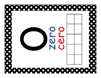Dual Language Number (1-20) Posters- Black and White Polka Dots