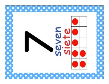 Dual Language Number (1-20) Posters-Polka Dots Primary Colors