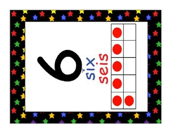 Dual Language Number (1-20) Posters-multicolored stars