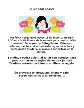 Dual Language Parent Workshop Flyer