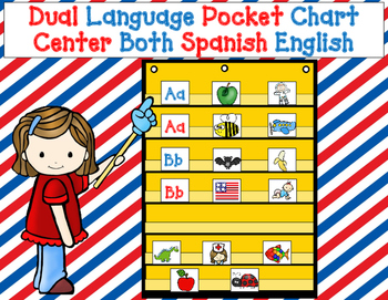 Dual Language Pocket Chart Center Combo:  Both Spanish and English Sets