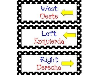 Dual Language Polka Dot Cardinal Direction Cards