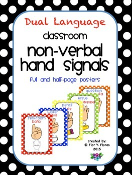 Dual Language Primary Colored Polka Dot Nonverbal Hand Signals Posters