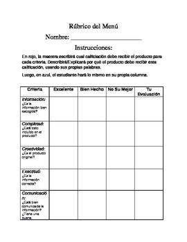 Dual Language - Project Scoring Rubric SPANISH