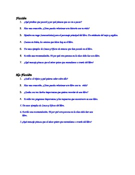 Dual Language - Reader's Response Questions SPANISH