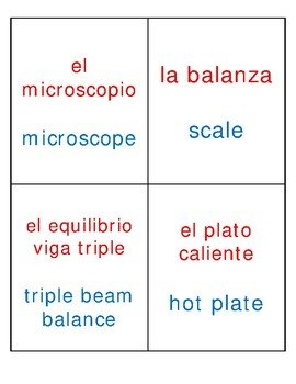 Dual Language [Red/Blue] Science Tools Labels - Intermediate Grades