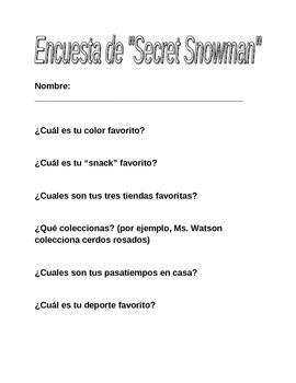 Dual Language - Secret Snowman Survey Questions SPANISH