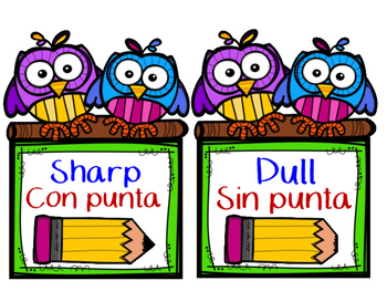 Dual Language Sharp & Dull Pencil Labels