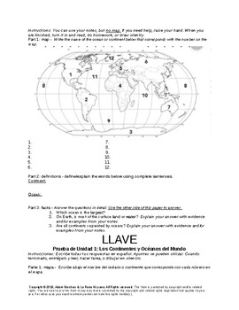 Dual Language Spanish Geography 7th grade quiz: Continents and Oceans + key