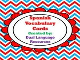 Dual Language Spanish Vocabulary Cards A-Z in red frame Gomez and Gomez style.