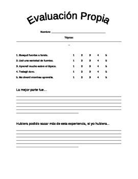 Dual Language - Student Self-Evaluation Project Rubric SPANISH
