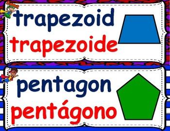 Dual Language Superhero 2D Shapes in English & Spanish