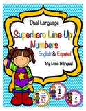 Dual Language Superhero Line Up Numbers for Floor in English & Spanish