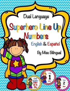 Dual Language Superhero Line Up Numbers for Floor in English & Spanish