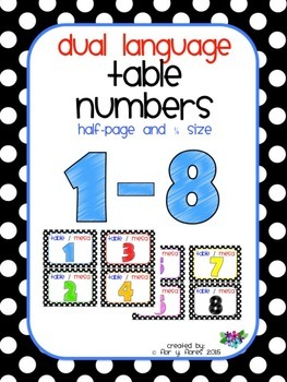 Dual Language Table Numbers in Black & White Polka Dot Theme