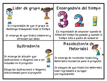 Team Role Cards in Spanish / Responsabilidades de trabajo en equipo