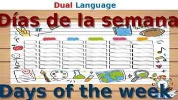 Dual Language days of the week train - decoration - English+Spanish