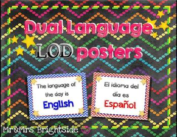 Dual Language of the Day signs - LOD English and Spanish