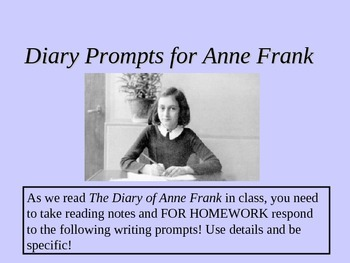 Dual Note-taking Journal responses PPT for Diary of Anne Frank