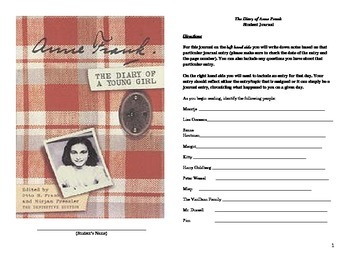 Dual Note-taking/Journaling for The Diary of Anne Frank