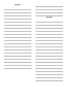 Dual Source Note-taking Page