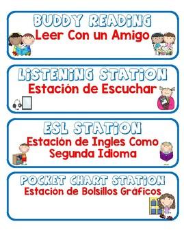 Dual language Work Station Signs