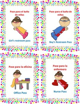 Dual language hall passes/ pases del pasillo