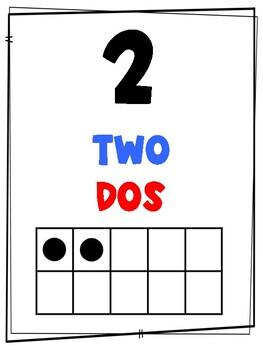 Dual language number cards