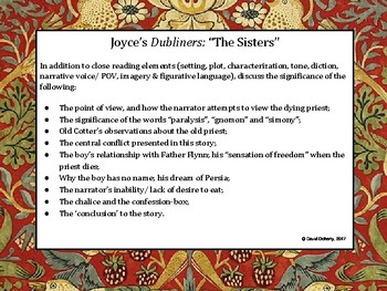 "Dubliners, by James Joyce. A study/discussion guide for ""The Sisters"""