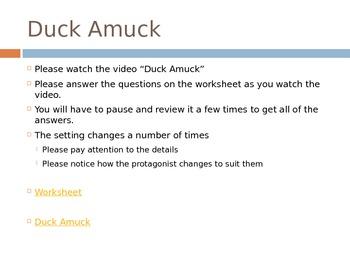 Setting Activity - Duck Amuck