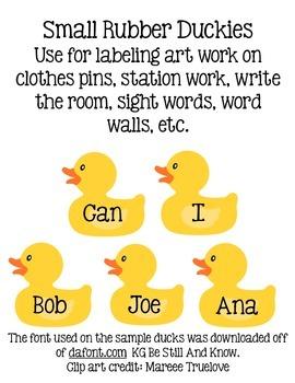 Duck Classroom Word Wall Editable