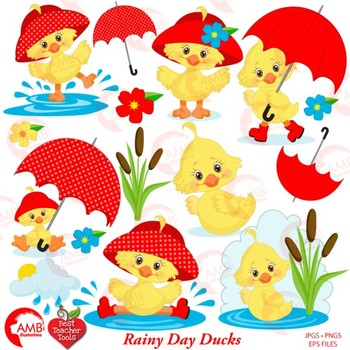Duck Clipart, Baby Ducklings in the Rain Clipart {Best Teacher Tools} AMB-1825