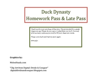 Duck Dynasty Homework Pass