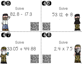 Upper Elementary Duck Dynasty Math Task Cards {QR Codes Included!}