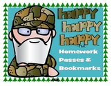Duck Dynasty Themed Homework Passes & Bookmarks