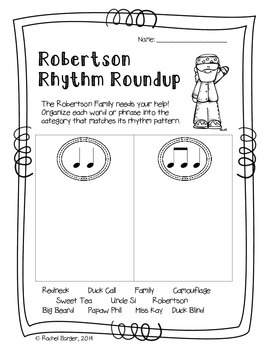Duck Dynasty Themed Print and Go Music Worksheets