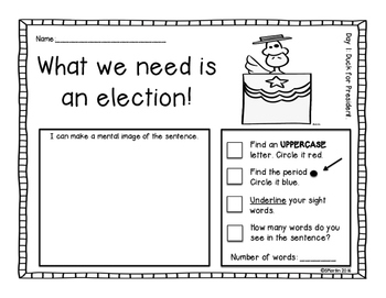 Duck For President: A Primary Mentor Sentence Unit
